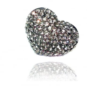 I Love You Collection Crystal Heart Ring Silver