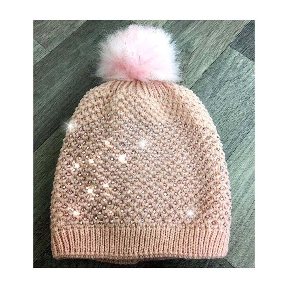 Lemonade Crystal Pom Pom Beanie Hat Baby Pink - SHOP ACCESSORIES ... 4c4813b6ae5