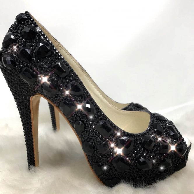 Lemonade Chunky Crystal Heels Black ** SIZE 7 ONLY **