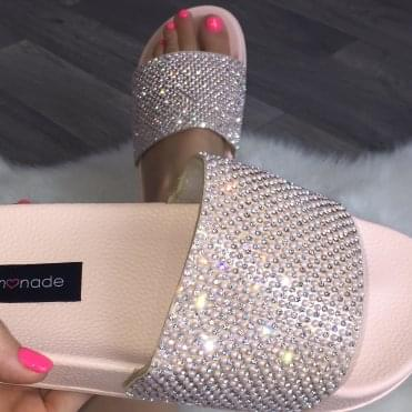 Lemonade Couture Pearl and Crystal Sliders Nude