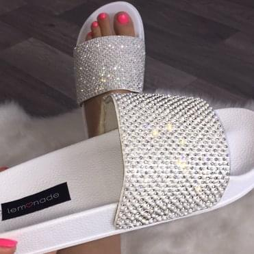 Lemonade Couture Pearl and Crystal Sliders White