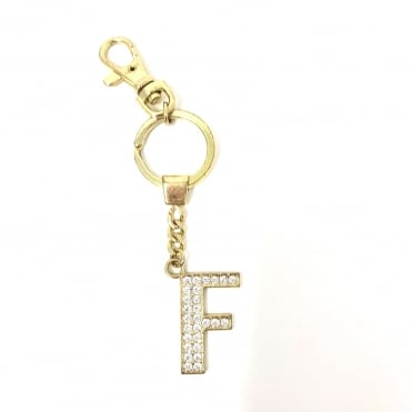 Lemonade Crystal Alphabetical Keyring Gold