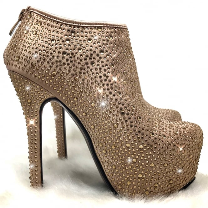 Lemonade Crystal Ankle Boots Gold ** SIZE 5 ONLY **
