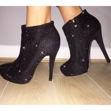 Lemonade Crystal Ankle Boots Roxy Black *SIZE 8 ONLY*