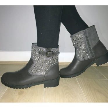 Lemonade Crystal Bubble Boots Grey