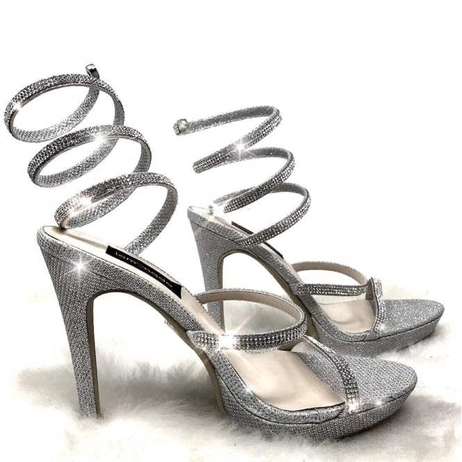 "Lemonade Crystal Cleo Heels Silver 4.5"" SIZE 6 ONLY"