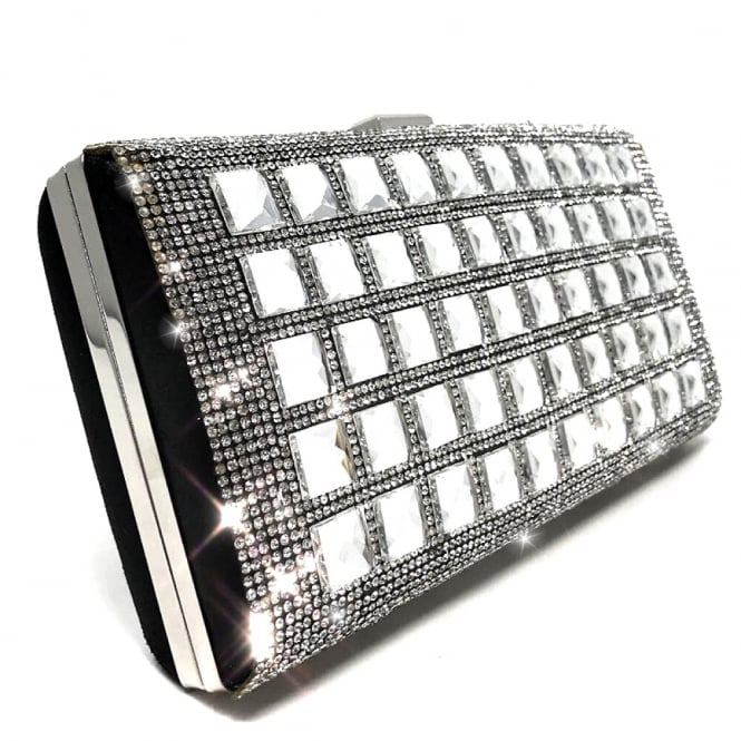 Lemonade Crystal Clutch Bag Large Black Diamond