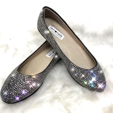 Lemonade Crystal Couture Dolly Shoes Gun Metal ** SIZE 6 ONLY **
