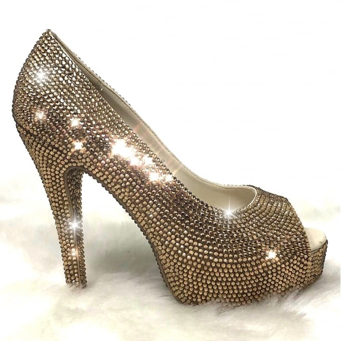 Lemonade Crystal Couture Peep Toe Heels Gold *** SIZE 6 ONLY ***