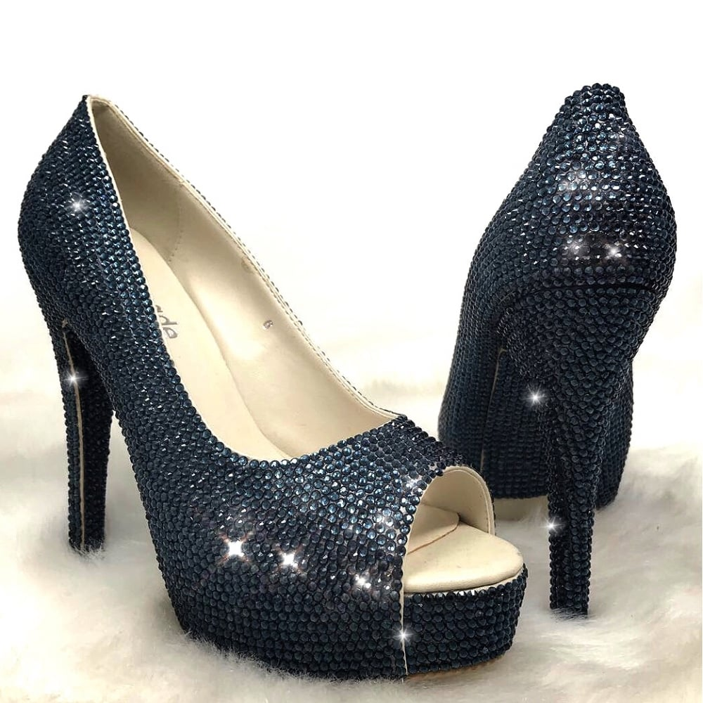 9ca53209a Lemonade Crystal Couture Peep Toe Heels Navy Blue     SIZE 6 ONLY ...