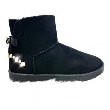 Lemonade Crystal Dazzle Boots Black