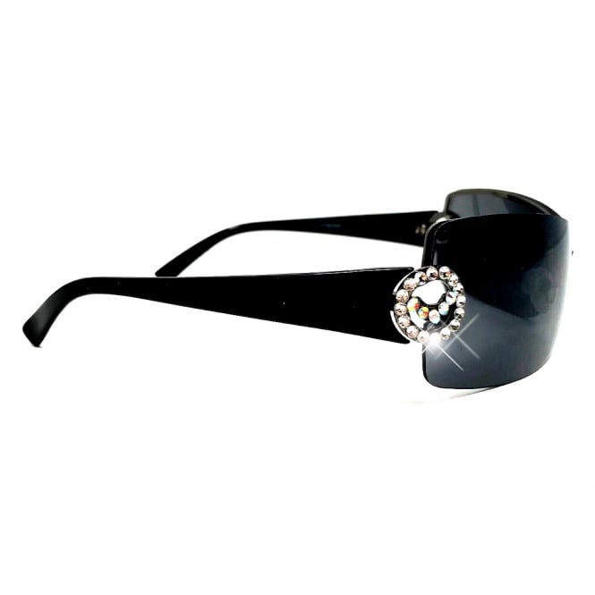 Lemonade Crystal Dazzle Sunglasses Black and Silver