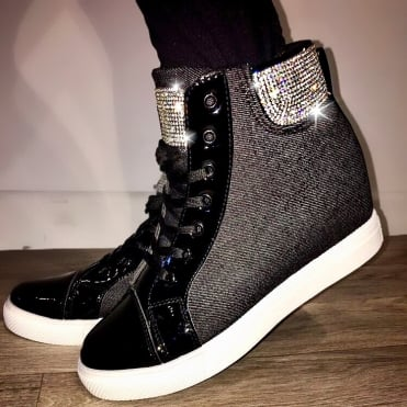 Lemonade Crystal Denim Wedge Trainers Black