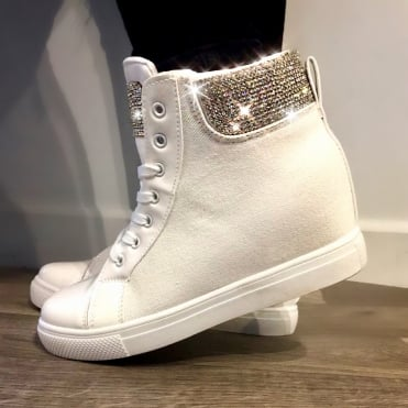 Lemonade Crystal Denim Wedge Trainers White