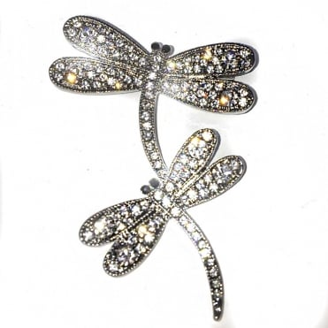 Lemonade Crystal Double Dragonfly Brooch Silver