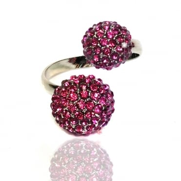 Lemonade Crystal Double Fizzball Ring Hot Pink