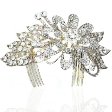 Lemonade Crystal Frosted Leafs Hair Comb Silver