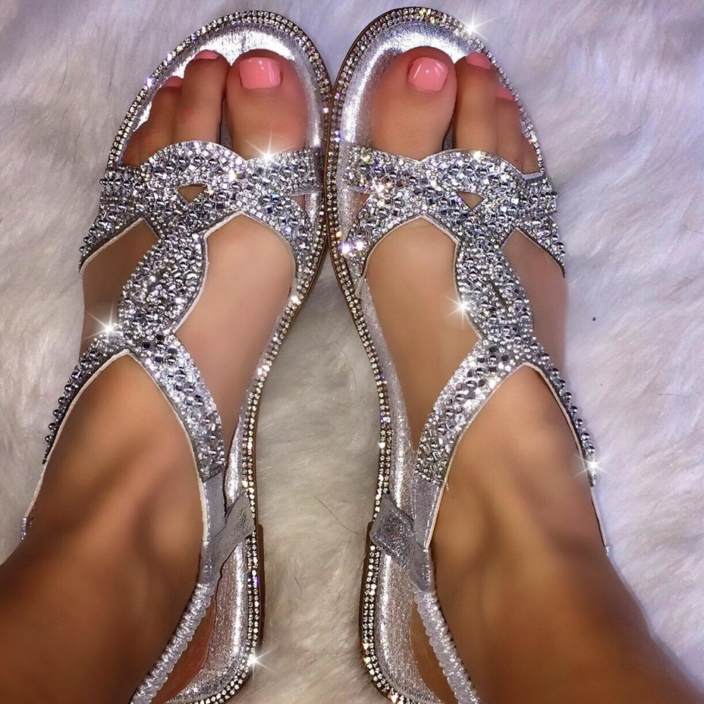91e4c5ed8f0895 Lemonade Crystal Gleam Sandals Silver NO TOE POSTS - SHOP SHOES from ...