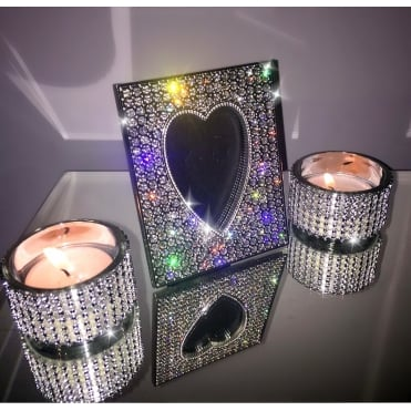 Lemonade Crystal Heart Photo Frame and Pair of Tea lights set