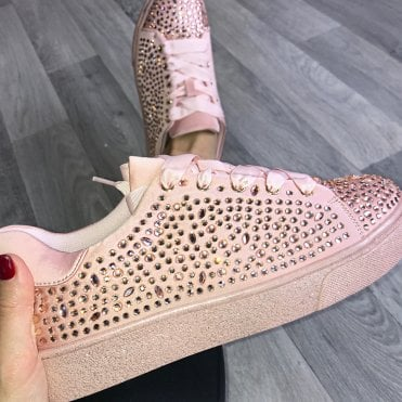 Lemonade Crystal Jazzy Diamond Sneakers Baby Pink