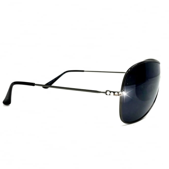Lemonade Crystal Mask Sunglasses Black and Silver