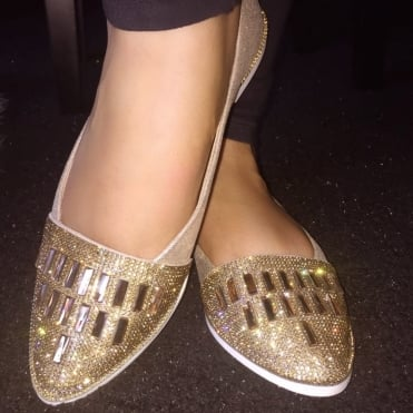 Lemonade Crystal Nugget Dolly Shoes Gold