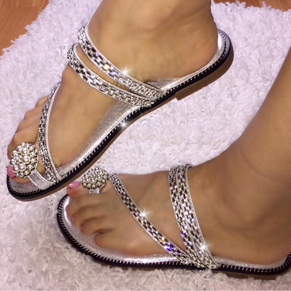 f04155571d03 Lemonade Crystal Pearl Toe Ring Sandal Silver - SHOP SHOES from ...