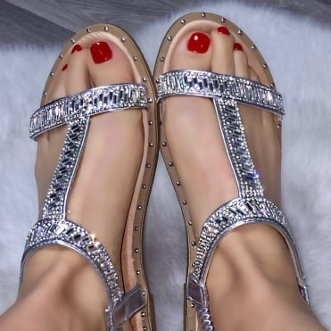 Lemonade Crystal Razzle Sandals Silver