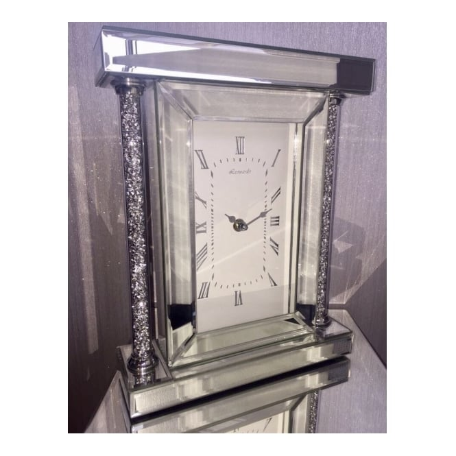 Lemonade Crystal Rectangle Crushed Ice Clock Silver