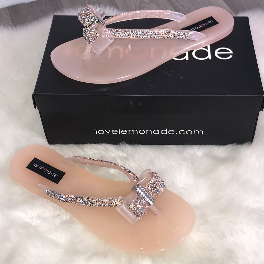 1854ec15f228 Lemonade Crystal Ribbon Bow Jelly Flip Flops Rose Gold    size 3 only