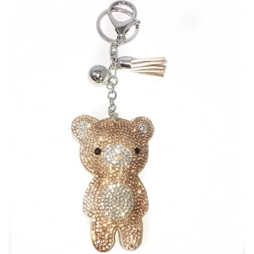 Lemonade Crystal Rose Gold Teddy Bear Keyring