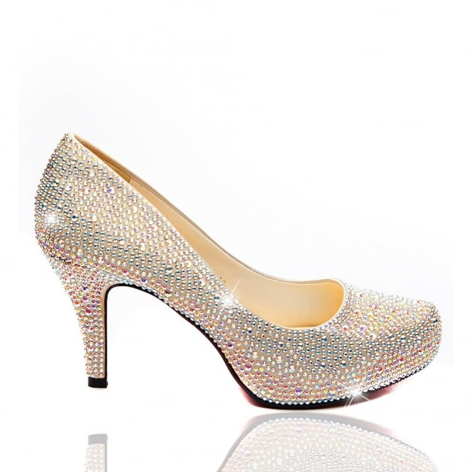 95e03fe9758 Lemonade Crystal Shoes Champagne 3 Inch - Red Sole - SHOP SHOES from ...