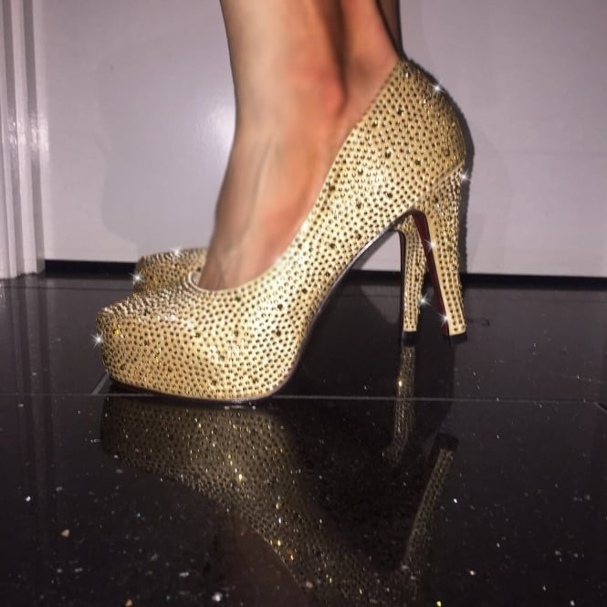 Lemonade Crystal Shoes Gold 4 inch - Red Sole - 7 ONLY