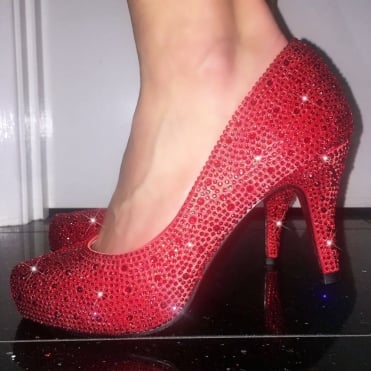 Lemonade Crystal Shoes Red 3 Inch - Red Sole