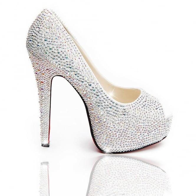 e49ab8b3f59 5 Inch Rhinestone Peep Toe Pumps Black Silver Women s Sexy High Heel Shoes  Size  6