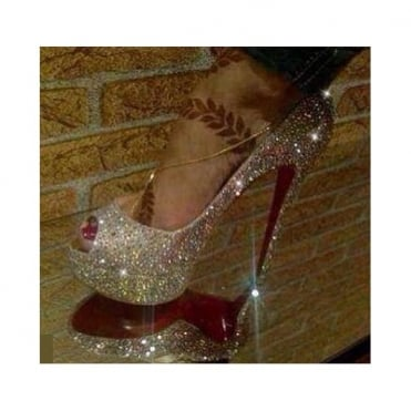 Lemonade Crystal Shoes Silver 5.5 Inch Peep Toe - Red Sole