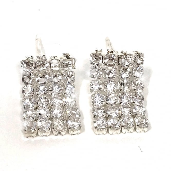Lemonade Crystal Skirt Earrings Silver