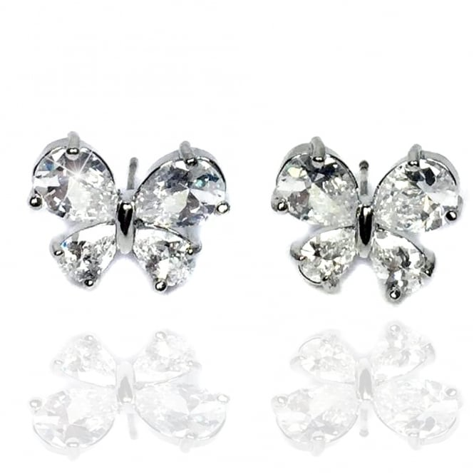 Lemonade Crystal Sparkly Butterfly Classic Stud Earrings