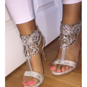 Lemonade Crystal Sparkly Ivy Shoes Silver
