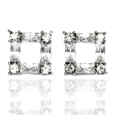 Lemonade Crystal Sparkly Open Square Stud Earrings