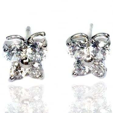 Lemonade Crystal Springtime Butterfly Stud Earrings