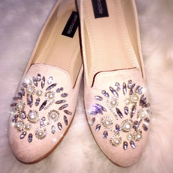 Lemonade Crystal Suede Effect Dolly Shoes Nude