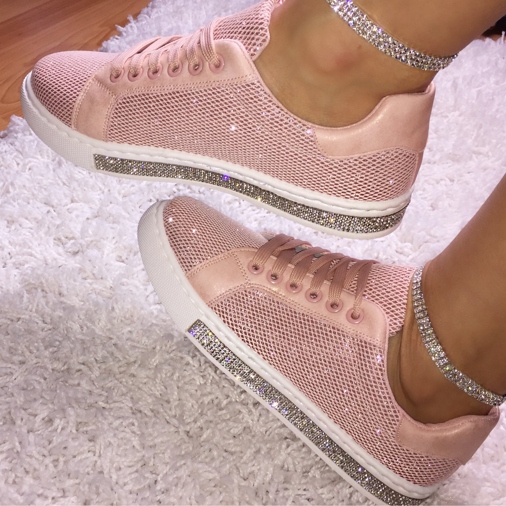 Pink Crystal Twinkle Trim Trainers from