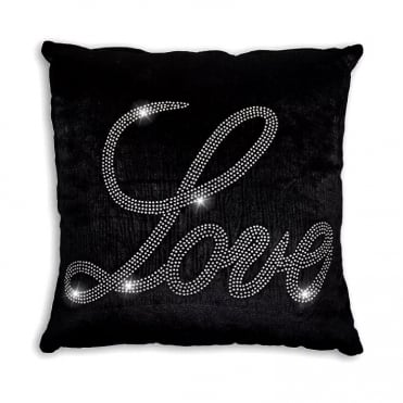 Lemonade Crystal Velvet Love Cushion Black