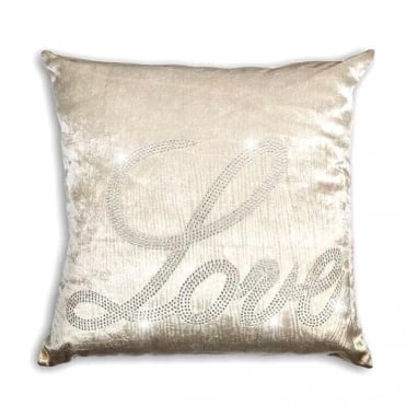 Lemonade Crystal Velvet Love Cushion Ivory