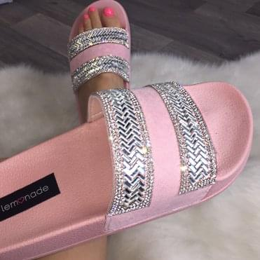 Lemonade Crystal Zig Zag Sliders Baby Pink