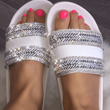 Lemonade Crystal Zig Zag Sliders Baby White