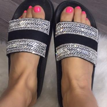 Lemonade Crystal Zig Zag Sliders Black