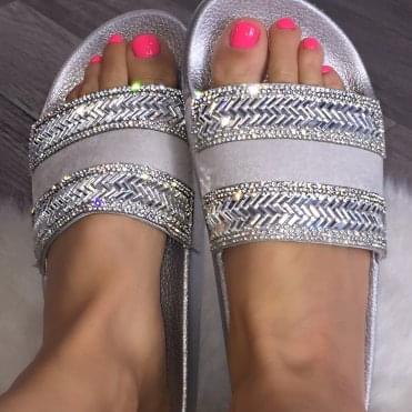 Lemonade Crystal Zig Zag Sliders Silver