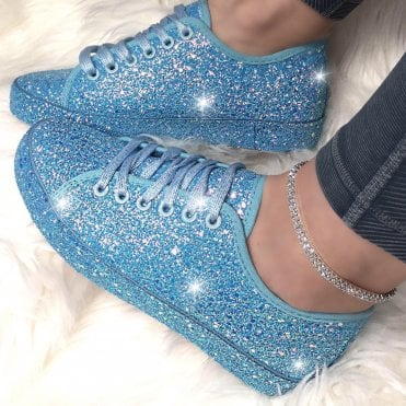 sparkly blue trainers